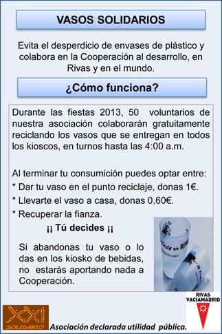 Flyer informativo repartido por XXI Solidario en las Fiestas de Rivas