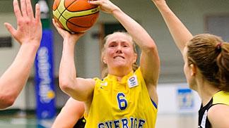 Frida Eldebrink en un partido de la selección sueca (Foto FIBA Europe)