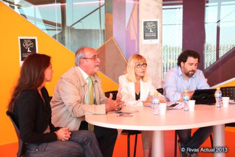 De izquierda a derecha: María Botto, José Masa, Cristina Rota y Pedro del Cura, durante la presentación, esta mañana, de la Escuela de Interpretación (Foto: Rivas Actual)