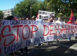 Imagen de archivo de una manifestación en Madrid contra los desahucios