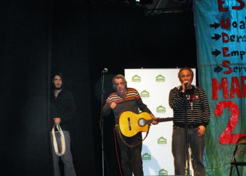 Un momento del acto de ayer. De izquierda a derecha: Pedro Pastor, Luis Pastor y Antonio del Río (Foto cortesía de Plataforma Unitaria de Rivas 22M)