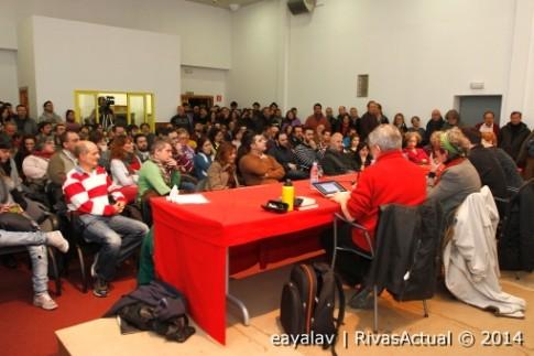Un aspecto de una asamblea de Podemos Rivas, poco después de su presentación en la ciudad, en febrero de este año (Foto archivo: Enrique Ayala)