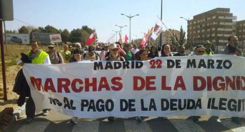 La columna que salío del Murcia el pasado 9 de marzo, a su llegada a Albacete (Foto: Marchas por la Dignidad)