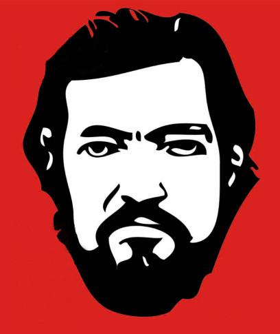 Imagen de Julio Cortázar utilizada para el anuncio de la Semana del Libro de Rivas 2014