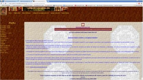 Vista de la página web de  'Camino Neocateculmenal', la comunidad que aparentemente está detrás del colegio que la Comunidad pretende impulsar en Rivas