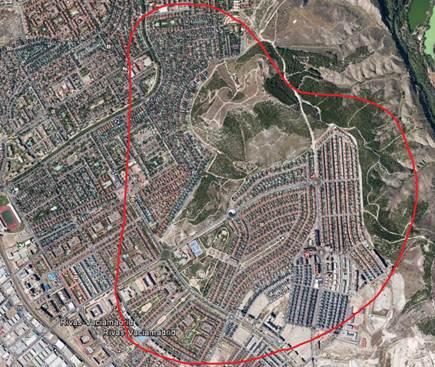 La zona de ampliación de cobertura, en Rivas señalada en un círculo rojo (Imagen cortsía de Orange)