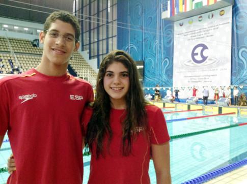 Los dos nadadores del CD Covibar, tras su participación en el campeonato (Foto cortesía de Susana Miñarro)