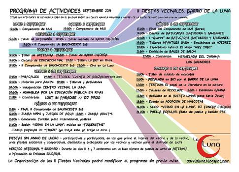 Programa de las Fiestas