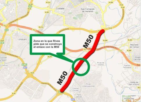 Infografía que muestra la zona donde Rivas pide que se construya el enlace Norte con la M50