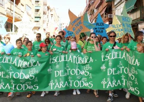 Una manifestación en madrid por la Escuela Pública, el pasado mes de julio (Foto Marea Verde)