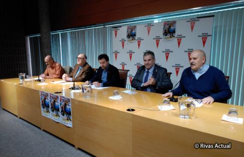 De izquierda a derecha: Raúl Sánchez, Angel López Rojo, Pedro del Cura, Ángel Luis Jiménez y Andrés Bernardino (Foto Rivas Actual)