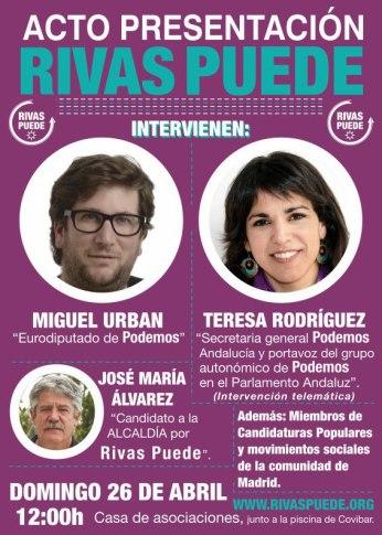 Cartel anunciador del acto público de Rivas Puede