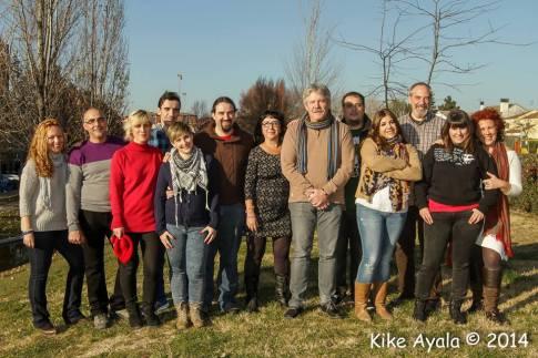 José María Álvarez (en primera fila, en el centro, con bufanda), en una foto de la candidatura que ganó las elecciones al Consejo Ciudadano de Podemos Rivas, el pasado mes de enero (Foto: Kike Ayala)