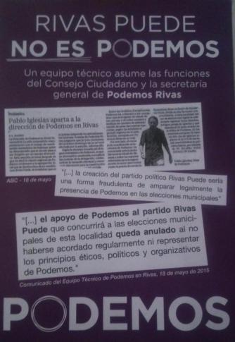 Cartel que Rivas Puede denuncia como una falsificación