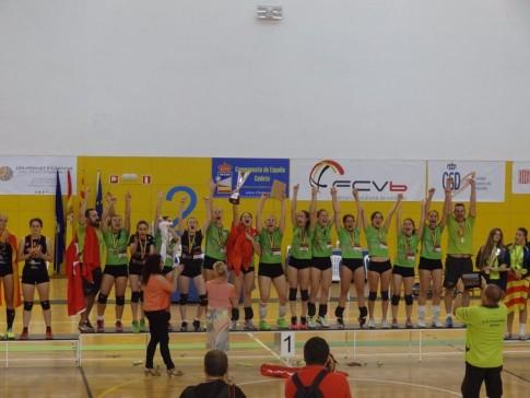 Las chicas celebrando la victoria en el Campeonato de España. (Foto: Cortesía del club).